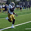 HALEY WARD | THE GOSHEN NEWS<br /> Running back Dexter Williams runs the ball in for a touchdown during Notre Dame football practice Wednesday.