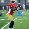 HALEY WARD | THE GOSHEN NEWS<br /> Quarterback Malik Zaire prepares to pass the ball during Notre Dame football practice Saturday.