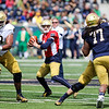 CHAD WEAVER | THE GOSHEN NEWS<br /> Notre Dame sophomore quarterback Ian Book looks to pass during the first half of Saturday's Blue-Gold Game at Notre Dame Stadium.