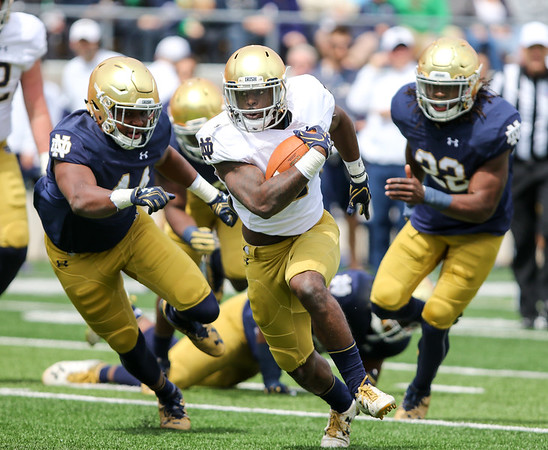 CHAD WEAVER | THE GOSHEN NEWS<br /> Notre Dame junior running back Dexter Williams breaks free for a long touchdown run during the first half of Saturday's Blue-Gold Game at Notre Dame Stadium.