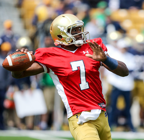 CHAD WEAVER   THE GOSHEN NEWS<br /> Notre Dame junior quarterback Brandon Wimbush looks to pass during the first half of Saturday's Blue-Gold Game at Notre Dame Stadium.