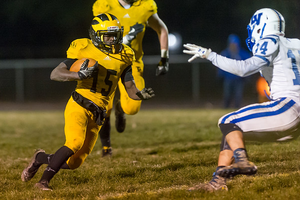 Panthers running back Addai Lewellen (15) carries the ball in the fourth quarter. Pioneer defeated LaVille 38-0 in regional football action at the Pit on Friday night. Fran Ruchalski   Pharos-Tribune