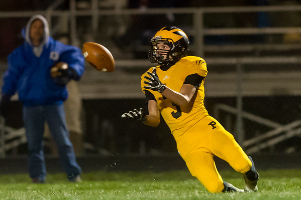 Panthers Calahan Kindley (3) catches a pass in the second quarter. Pioneer defeated LaVille 38-0 in regional football action at the Pit on Friday night. Fran Ruchalski | Pharos-Tribune