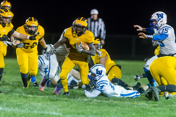 Panthers running back Ezra Lewellen (5) carries the ball in the first quarter. Pioneer defeated LaVille 38-0 in regional football action at the Pit on Friday night. Fran Ruchalski | Pharos-Tribune