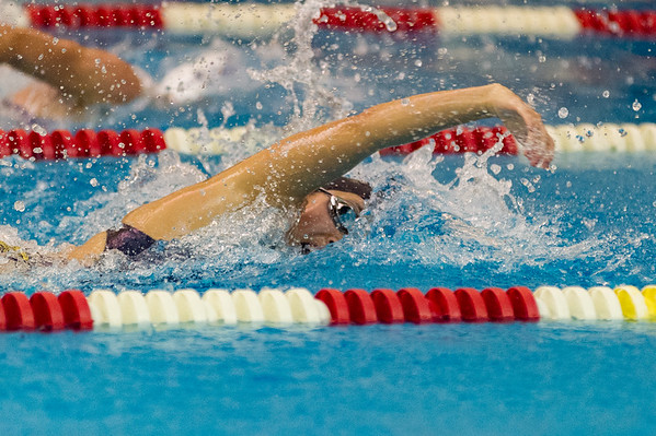 Panthers Megan Chan swims to a first place finish in the Girls 100 Yard Freestyle during a meet at Pioneer on Thursday night. Fran Ruchalski   Pharos-Tribune