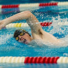 Panthers Keaton Schroder swims the last leg of the Boys 400 Yard Freestyle Relay as Pioneer takes first place in the relay. during a meet at Pioneer on Thursday night. Fran Ruchalski | Pharos-Tribune