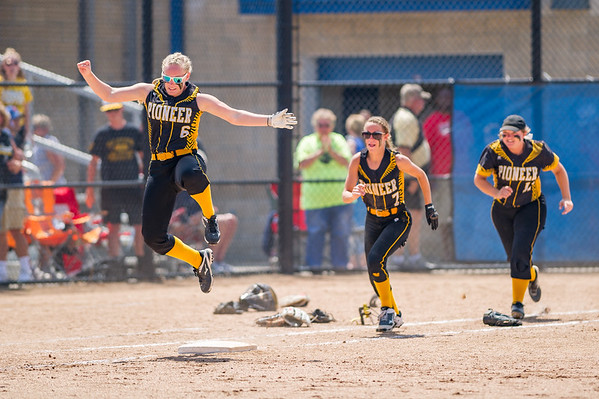 Lady Panthers Cassidy Morris (6), Mikenna Landis (7) and Bailey Zarse (11) celebrate the win against Fremont in the early Semi State game last Saturday. Fran Ruchalski   Pharos-Tribune