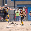 Lady Panthers Cassidy Morris (6), Mikenna Landis (7) and Bailey Zarse (11) celebrate the win against Fremont in the early Semi State game last Saturday. Fran Ruchalski | Pharos-Tribune