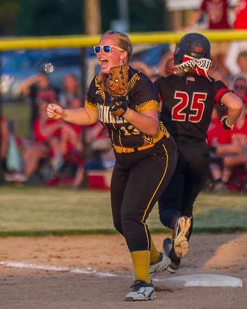 Pioneer senior Alyssa Shaw begins the celebration after getting the last out as the Lady Panthers captured the 2018 1A IHSAA Semi-State Championship in Frankfort Saturday evening defeating the Frontier Falcons by a score of 6-3. Fran Ruchalski | Pharos-Tribune