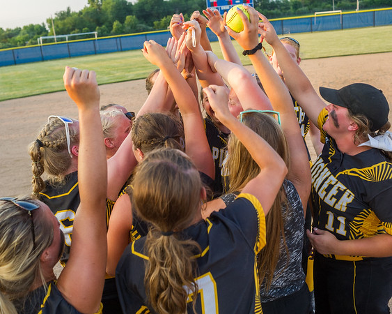 The Pioneer Panthers celebrate after they captured the 2018 1A IHSAA Semi-State Championship in Frankfort Saturday evening  defeating the Frontier Falcons by a score of 6-3. Fran Ruchalski   Pharos-Tribune