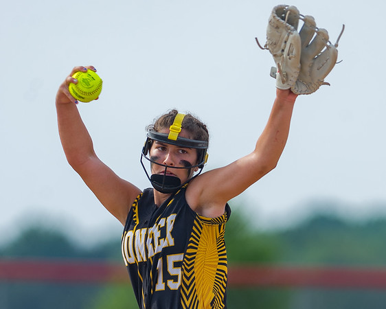Pioneer freshman Hailey Gotshall (15) pitches in the early going of the Lady Panthers 1-0 victory over the Washington Lady Senators in the Regional Championship game on Tuesday evening. Fran Ruchalski | Pharos-Tribune