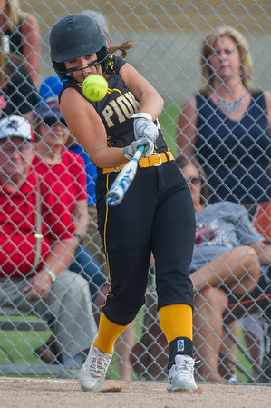 Pioneer junior Alexis Robinson (10) pops one up in the first inning of the Lady Panthers 1-0 victory over the Washington Lady Senators in the Regional Championship game on Tuesday evening. Fran Ruchalski   Pharos-Tribune