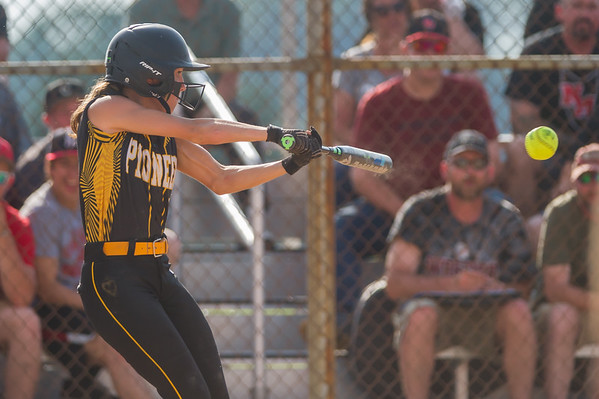 Panthers junior Mikenna Landis (7) knocks one for a two-run inside the park home run in the Pioneer victory over North Miami on Saturday evening to capture the sectional championship. Fran Ruchalski | Pharos-Tribune