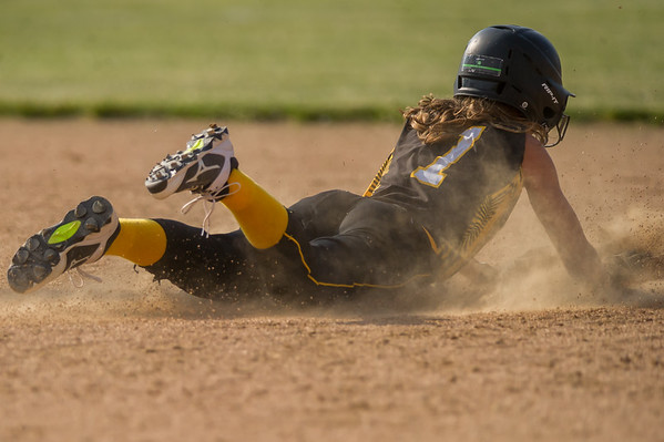 Panthers junior Mikenna Landis (7) steals second base in the Pioneer victory over North Miami on Saturday evening to capture the sectional championship. Fran Ruchalski   Pharos-Tribune