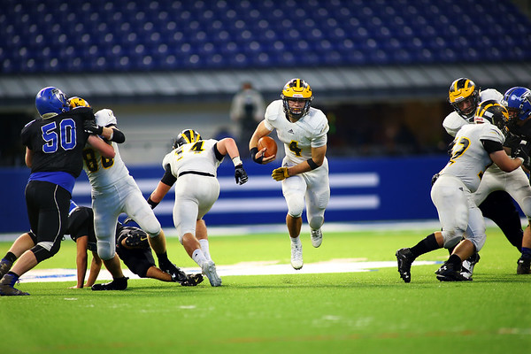 Jack Kiser runs down the middle to score in the 3rd quarter as Pioneer beats North Vermillion in the Class A State Finals 60-0 on Nov. 24, 2018 at Lucas Oil Stadium.<br /> Tim Bath   Kokomo Tribune
