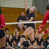 Logansport senior Brayden Berkshire (16) knocks the ball over the net as the Lady Berries defeated the Lady Redskins of Knox in four sets on Wednesday night. Fran Ruchalski | Pharos-Tribune