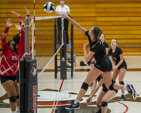 Logansport senior Allie McClure (1) smacks the ball over the net as the Lady Berries defeated the Lady Redskins of Knox in four sets on Wednesday night. Fran Ruchalski   Pharos-Tribune