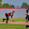 Taylor Titans infielder Michael Pemberton (8) scoops a ball during the first inning of a game between the Lewis Cass Kings and Taylor Titans on Friday, May 7, 2021 in Walton.