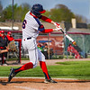 Lewis Cass Kings' Tyson Good (6) hits a ball during the first inning of a game between the Lewis Cass Kings and Taylor Titans on Friday, May 7, 2021 in Walton.