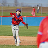 Caston Comets infielder Kade Zeider (4) throws to first base during the second inning of a game between the Pioneer Panthers and Caston Comets on Thursday, April 29, 2021 in Fulton.