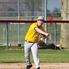 Pioneer Panthers infielder Ethan Spencer (56) throws to first base during the second inning of a game between the Pioneer Panthers and Caston Comets on Thursday, April 29, 2021 in Fulton.