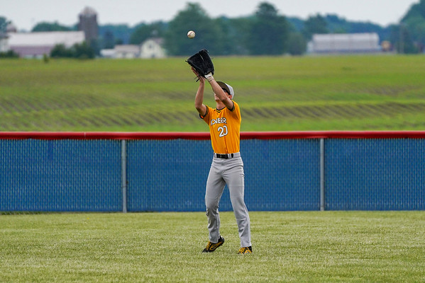 Pioneer Panthers outfielder Noah Pearson (20) catches a fly ball during the first inning of the sectional championship between the Southwood Knights and Pioneer Panthers on Monday, May 31, 2021 in Fulton.