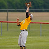 Pioneer Panthers pitcher Caleb Sweet (23) catches a pop up during the third inning of the sectional championship between the Southwood Knights and Pioneer Panthers on Monday, May 31, 2021 in Fulton.