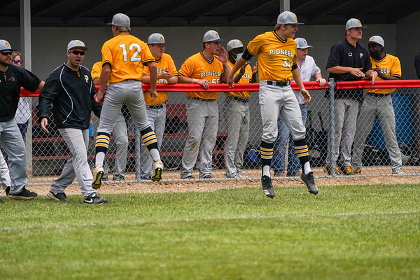 Pioneer Panthers players celebrate during the second inning of the sectional championship between the Southwood Knights and Pioneer Panthers on Monday, May 31, 2021 in Fulton.
