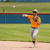 Pioneer Panthers infielder Caden Couch (19) throws to first base during the second inning of the sectional championship between the Southwood Knights and Pioneer Panthers on Monday, May 31, 2021 in Fulton.