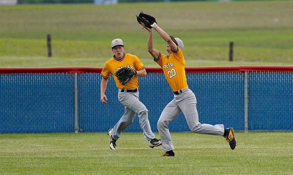 Pioneer Panthers outfielder Noah Pearson (20) makes a running catch during the first inning of the sectional championship between the Southwood Knights and Pioneer Panthers on Monday, May 31, 2021 in Fulton.