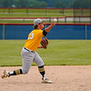 Pioneer Panthers infielder Caleb Sweet (23) throws to first base during the seventh inning of the sectional championship between the Southwood Knights and Pioneer Panthers on Monday, May 31, 2021 in Fulton.