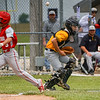 The ball bounces as Pioneer Panthers catcher Wyatt Zeider (7) tries to grab it and Southwood Knights outfielder Mason Yentes (3) scores a run during the fourth inning of the sectional championship between the Southwood Knights and Pioneer Panthers on Monday, May 31, 2021 in Fulton.