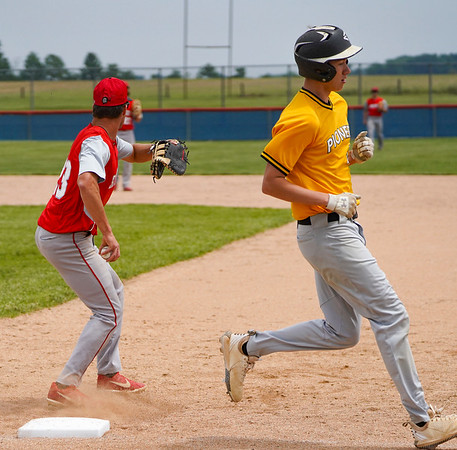 Pioneer Panthers infielder Hunter Klepinger (44) runs past the bag after grounding out during the second inning of the sectional championship between the Southwood Knights and Pioneer Panthers on Monday, May 31, 2021 in Fulton.