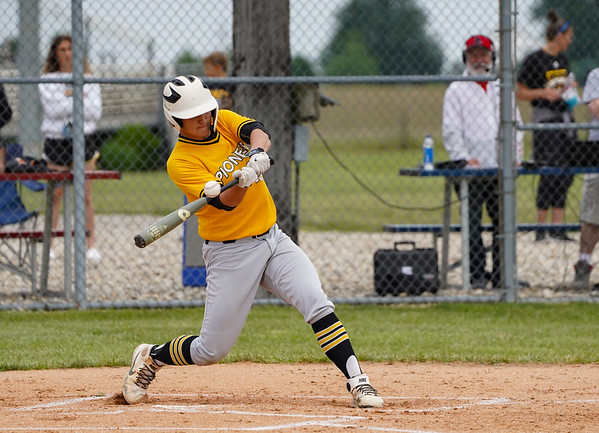 A Pioneer Panthers batter swings on a pitch during the first inning of the sectional championship between the Southwood Knights and Pioneer Panthers on Monday, May 31, 2021 in Fulton.
