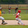 Pioneer Panthers infielder Tyler Gaumer (58) throws the ball after trapping Southwood Knights outfielder Mason Yentes (3) in a rundown during the sixth inning of the sectional championship between the Southwood Knights and Pioneer Panthers on Monday, May 31, 2021 in Fulton.