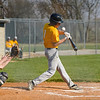 Pioneer Panthers infielder Daniel Reyes (1) swings on a pitch during the first inning of a game between the Tri-County Cavaliers and Pioneer Panthers on Tuesday, April 6, 2021 in Royal Center.