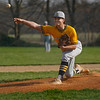 Pioneer Panthers pitcher Caleb Sweet (23) throws the ball during the first inning of a game between the Tri-County Cavaliers and Pioneer Panthers on Tuesday, April 6, 2021 in Royal Center.