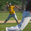 Pioneer Panthers infielder Tyler Gaumer (58) throws to first base after fielding a grounder during the third inning of a game between the Pioneer Panthers and Winamac Warriors on Friday, May 14, 2021 in Royal Center.