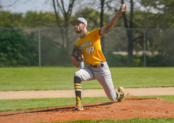 Pioneer Panthers pitcher Peyton Schnurpel (99) throws the ball during the first inning of a game between the Pioneer Panthers and Winamac Warriors on Friday, May 14, 2021 in Royal Center.