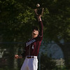 Winamac Warriors infielder Caleb Good (4) catches a pop up during the second inning of a game between the Pioneer Panthers and Winamac Warriors on Friday, May 14, 2021 in Royal Center.