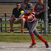 Logansport Berries infielder Pailei Cripe (19) bunts the ball during the first inning of a game between the Logansport Berries and Caston Comets on Monday, April 5, 2021 in Fulton.