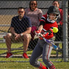 Logansport Berries outfielder Justyce Rohrabaugh (16) makes contact with a pitch during the first inning of a game between the Logansport Berries and Caston Comets on Monday, April 5, 2021 in Fulton.