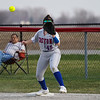 Caston Comets infielder Annie Harsh (45) waits on first base after a Logansport Berries ground ball during the first inning of a game between the Logansport Berries and Caston Comets on Monday, April 5, 2021 in Fulton.