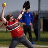 Logansport Berries pitcher Claire Kitchel (12) throws a pitch during the first inning of a game between the Logansport Berries and Caston Comets on Monday, April 5, 2021 in Fulton.