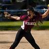 Winamac Warriors' Aubrey Gearhart (16) throws a pitch during the second inning of a game between the Caston Comets and Winamac Warriors on Tuesday, May 11, 2021 in Winamac.