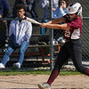 Winamac Warriors' Catie perry (22) grounds out during the third inning of a game between the Caston Comets and Winamac Warriors on Tuesday, May 11, 2021 in Winamac.