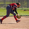 Logansport Berries infielder Pailei Cripe (19) scoops a ground ball during the second inning of a game between the Logansport Berries and Lewis Cass Kings on Wednesday, May 12, 2021 in Walton.