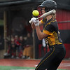 Pioneer Panthers infielder Brooklyn Borges (6) hits the ball during the first inning of a game between the Logansport Berries and Pioneer Panthers on Thursday, April 8, 2021 in Logansport.