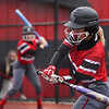 Logansport Berries pitcher Justyce Rohrabaugh (16) swings on a pitch during the first inning of a game between the Logansport Berries and Pioneer Panthers on Thursday, April 8, 2021 in Logansport.