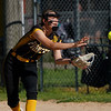 Pioneer Panthers infielder Brooklyn Borges (6) catches a short pop up during the first inning of the sectional semifinal between the Pioneer Panthers and Boone Grove Wolves on Wednesday, May 26, 2021 in Winamac.